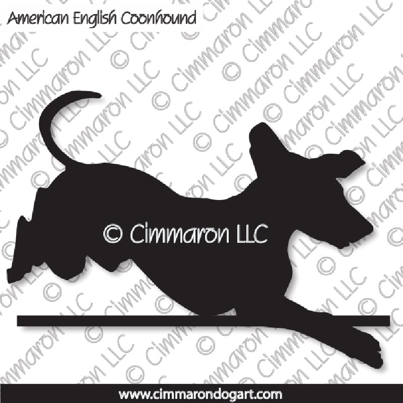 American English Coonhound Jumping Silhouette 004