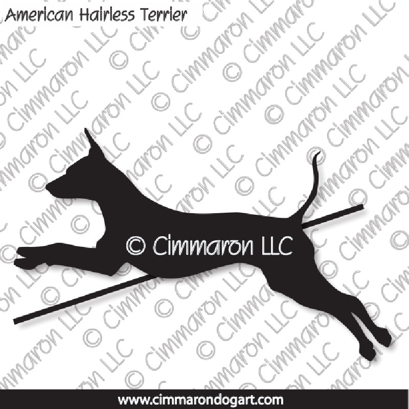 American Hairless Terrier Jumping Silhouette 004