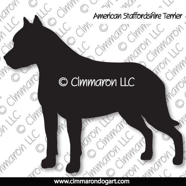 American Staffordshire Standing Silhouette 002