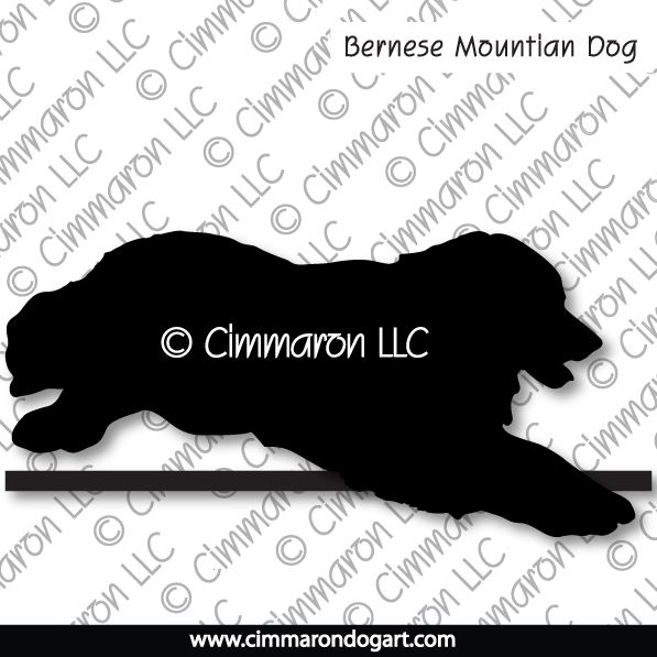 Bernese Mountian Dog Jumping Silhouette 005