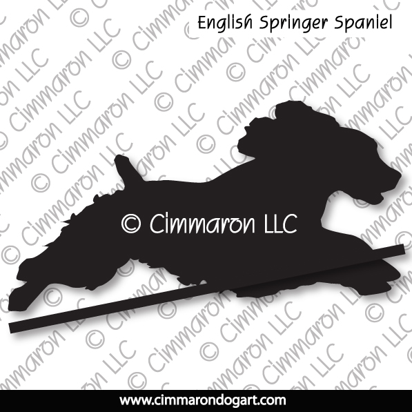 English Springer Spaniel Jumping Silhouette 007
