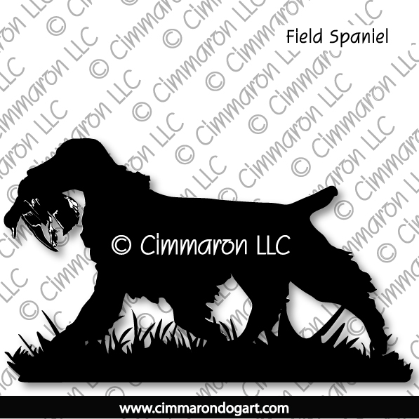 Field Spaniel Retrieving Silhouette 006