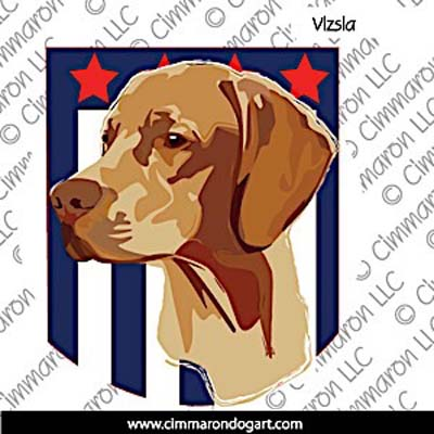 Vizsla Head with Star and Stripes