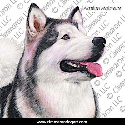 almal005n - Alaskan Malamute Drawing Note Cards
