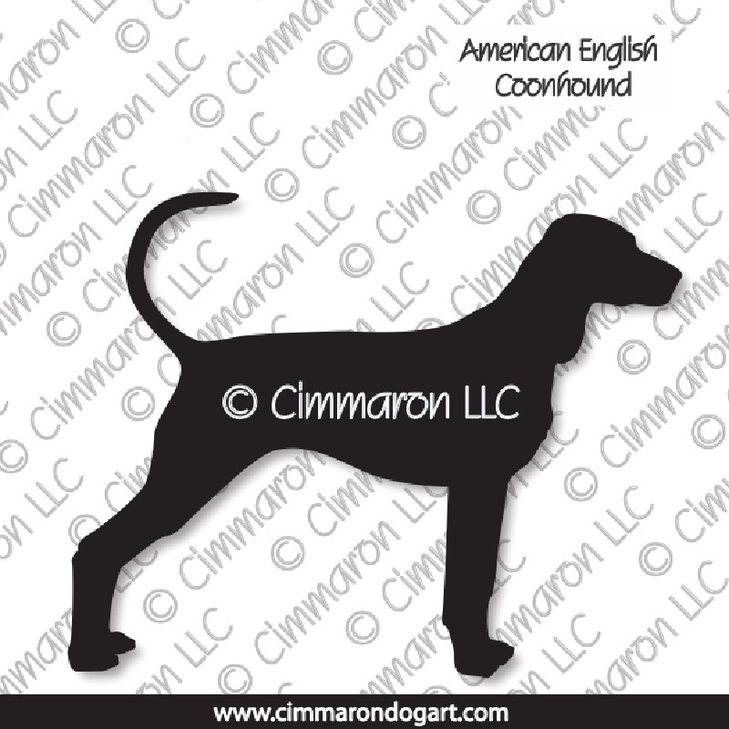 amencoon001n - American English Coonhound Silhouette Note Cards