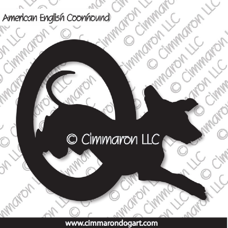 amencoon003n - American English Coonhound Agility Silhouette Note Cards