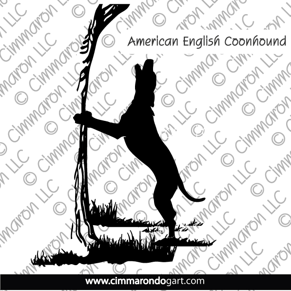amencoon005n - American English Coonhound Treeing Silhouette Note Cards