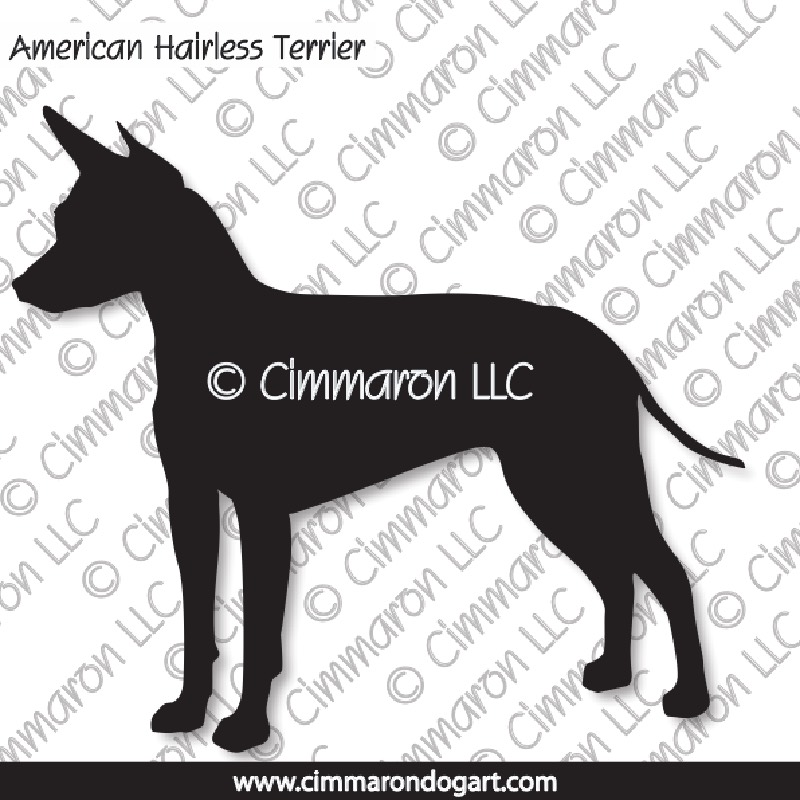 am-hairless001d - American Hairless Terrier Silhouette Decals