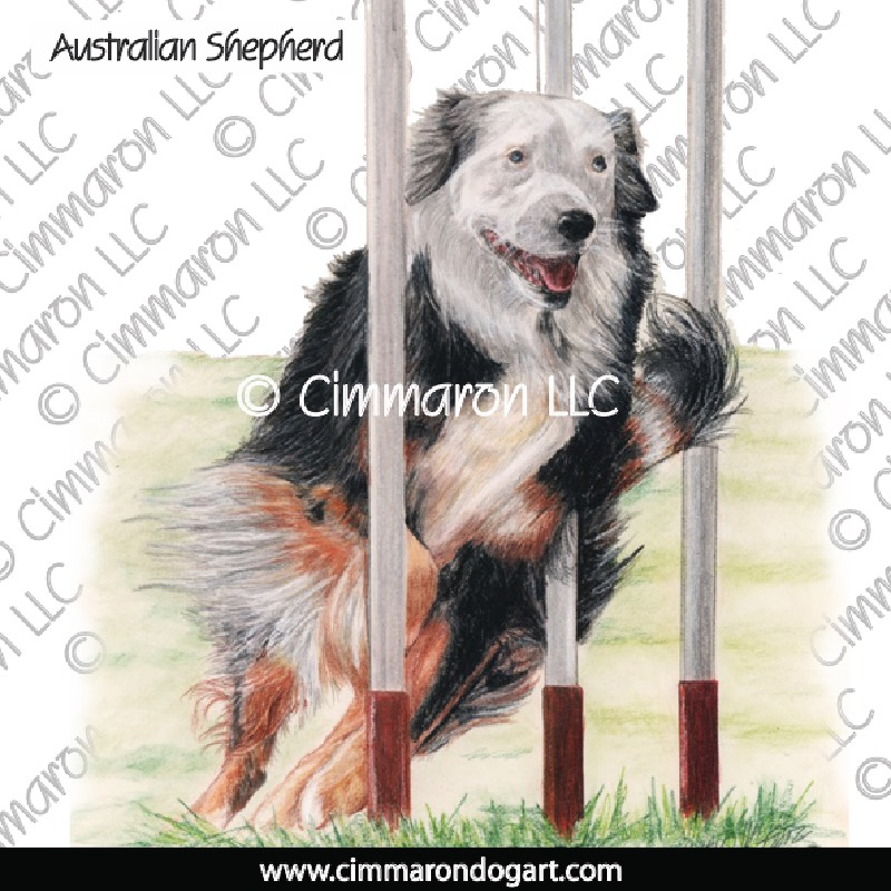 au-shep009n - Australian Shepherd Weaves Note Cards