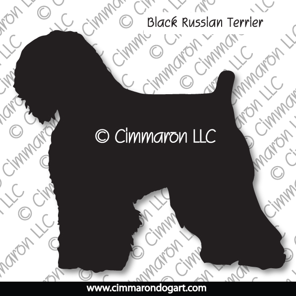 blk-russ001d - Black Russian Terrier Silhouette Stickers - Decals