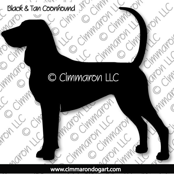 btcoon001n - Black and Tan Coonhound Silhouette Note Cards