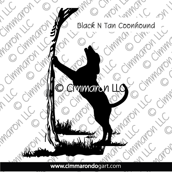 btcoon005d - Black and Tan Coonhound Treeing Decals
