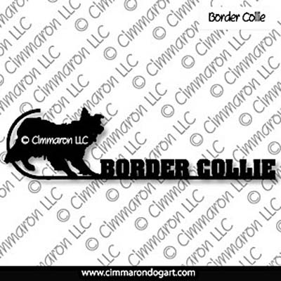 bdcol015ls - Border Collie with Staff and Text Long Sleeved Ts