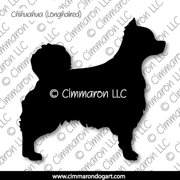 chichi-r-005d - Chihuahua Long Coated Silhouette Stickers