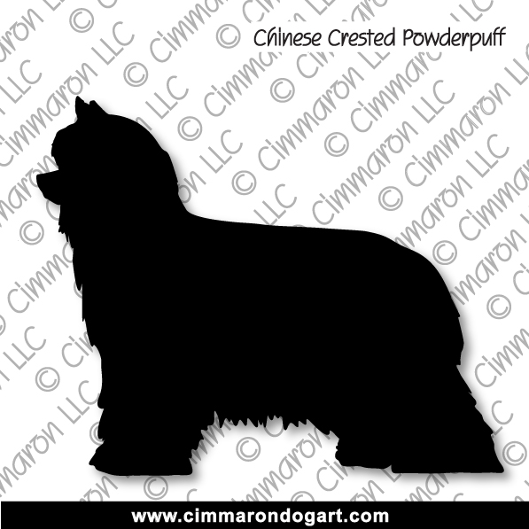 crested-pp005d - Chinese Crested Powder Puff Silhouette Sticker - Decal