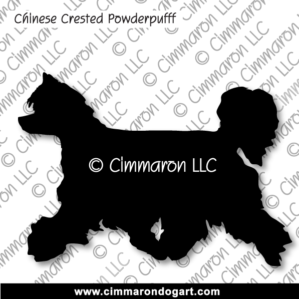 crested-pp007d - Chinese Crested Powder Puff Gaiting Sticker - Decal