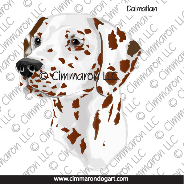 dal013n - Dalmatian Liver head Line Art Note Cards