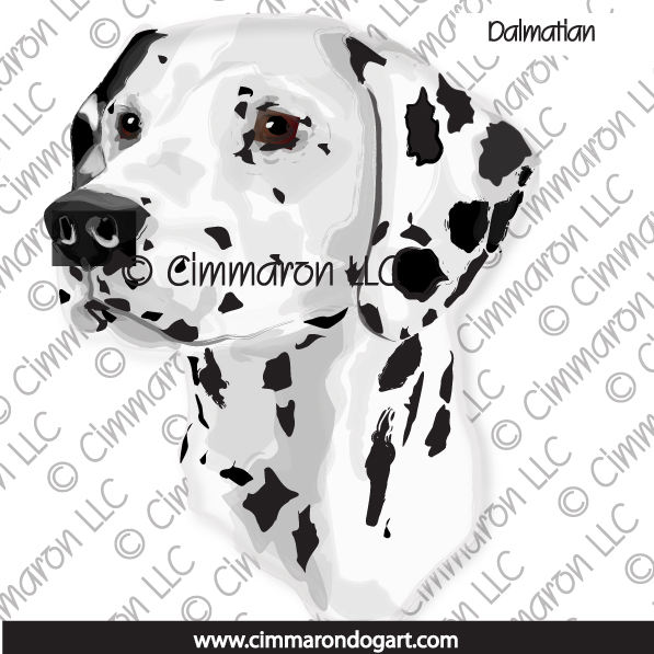 dal014n - Dalmatian Black head Line Art Note Cards