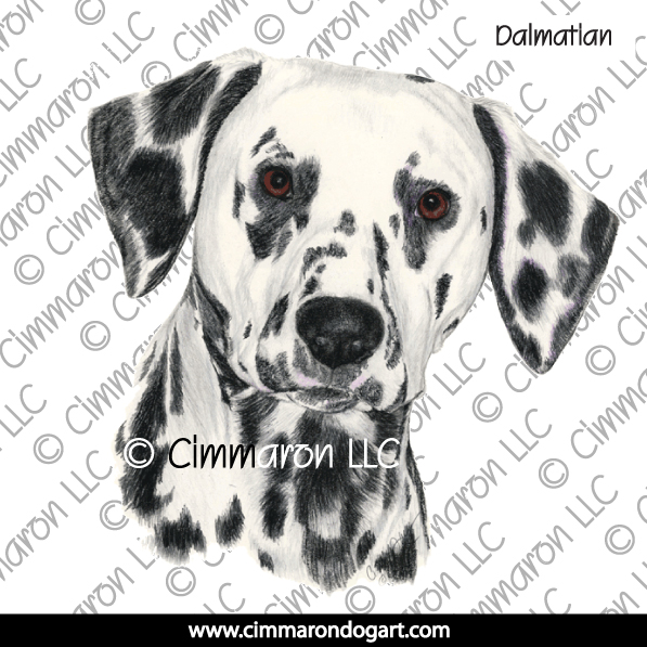 dal016n - Dalmatian Puppy Head Note Cards