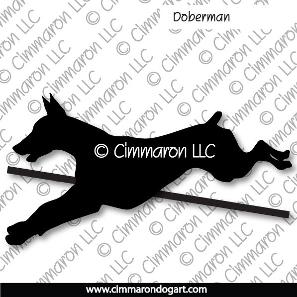 dobe005d - Doberman Jumping Stickers - Decals