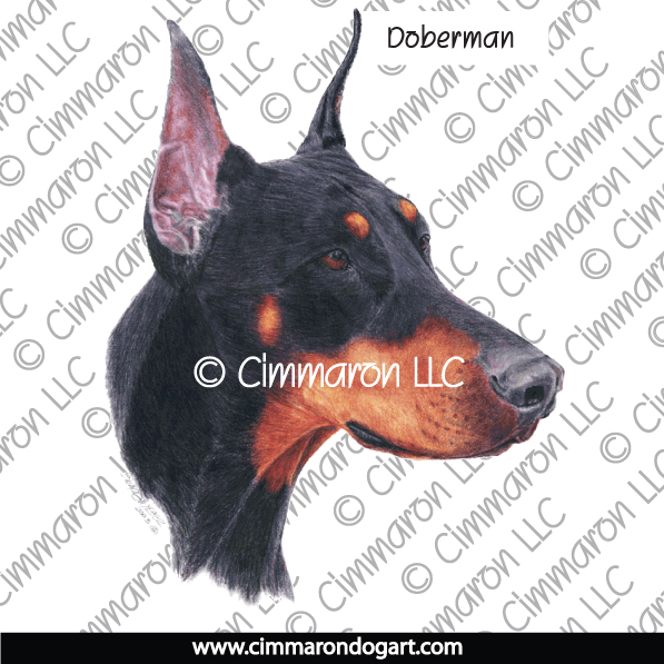 dobe006ls - Doberman Hand Drawn Portrait Long Sleeved T