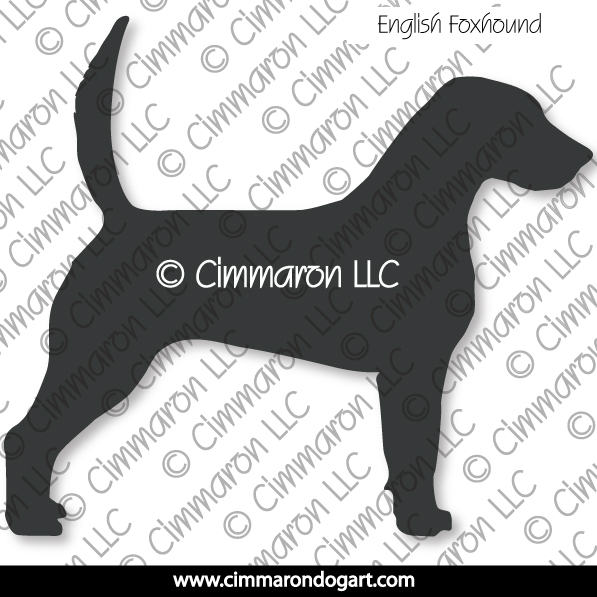 enfox001d - English Foxhound Silhouette Decals