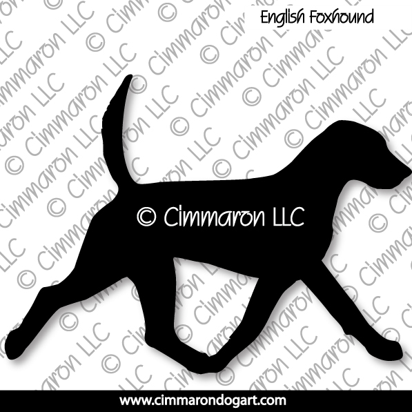 enfox002d - English Foxhound Gaiting Silhouette Decals