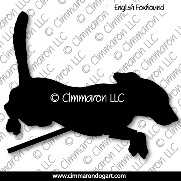enfox004d - English Foxhound Jumping Silhouette Decals