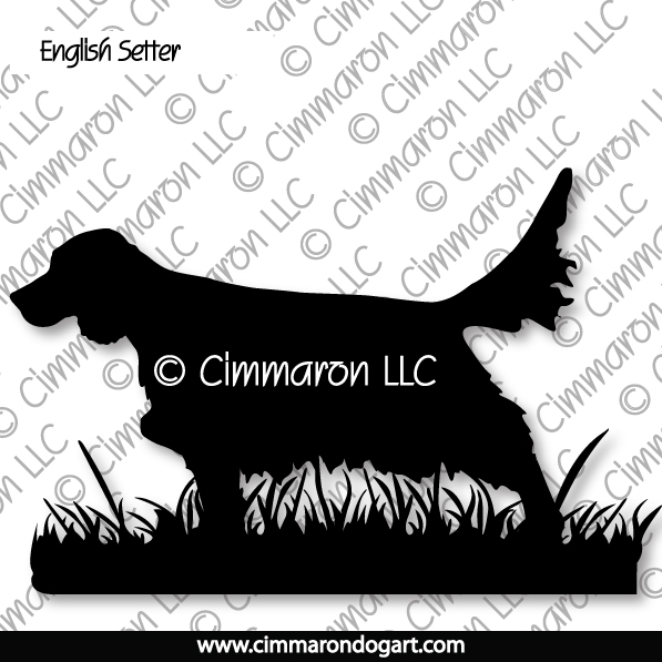es009d - English Setter Hunting Sticker - Decal