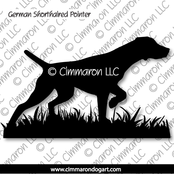 gsp005d - German Shorthaired Pointer On Pointing - Decal