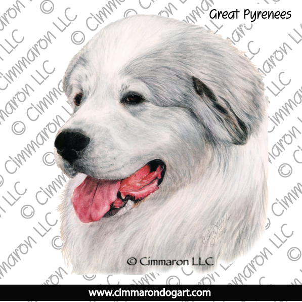grpyr005n - Great Pyrenees Portrait Note Cards