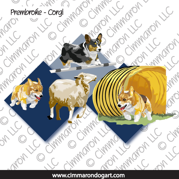 corgi014n - Corgi-Pembroke 3 Way Note Cards